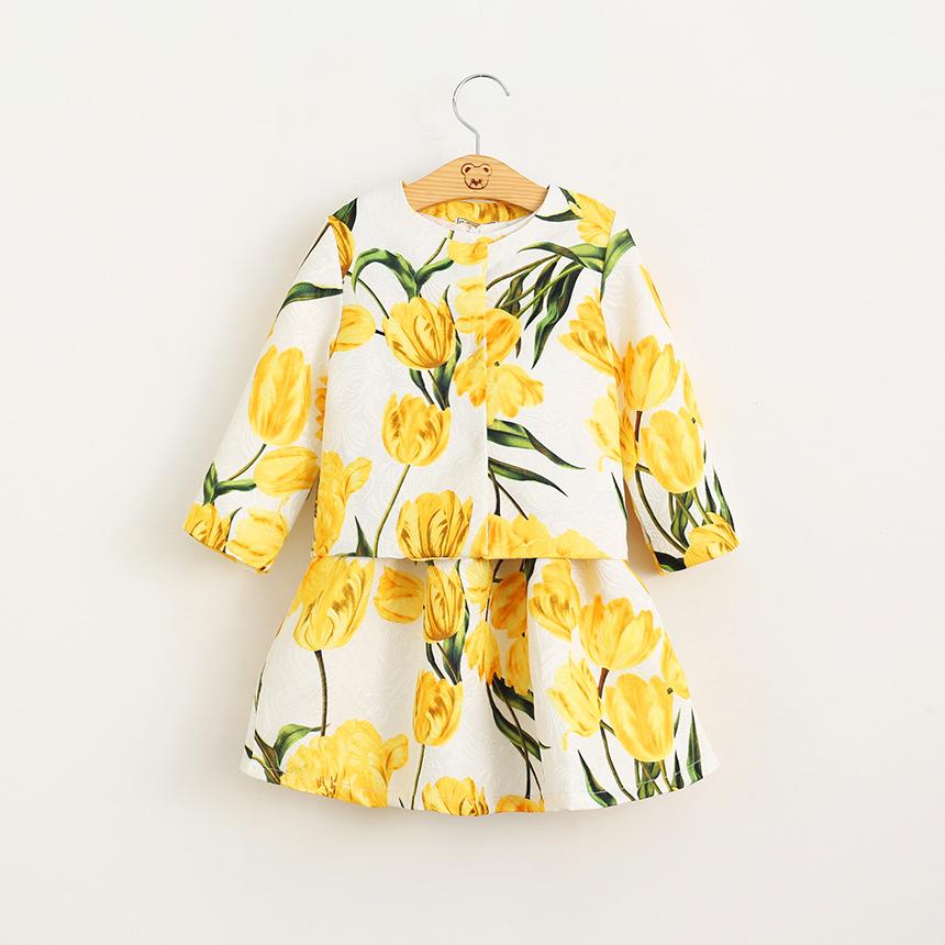 Kids font b Girls b font Long Sleeve Tulip Stamp Jacket Sleeveless Dress Suit for Children