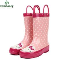 Portable Bonjour Kitty Enfants Bottes de Pluie Imperméables Chaussures En Caoutchouc Filles Enfants Polka Dot Filles Rainboots Pour Filles Rose Chaud Chaussures(China (Mainland))