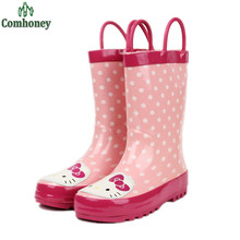 Portátil Hello Kitty Niños Niñas De Goma Lluvia Botas de Agua Zapatos de Los Niños de Polca de Las Muchachas Rainboots Para Niñas Zapatos de Color Rosa Caliente(China (Mainland))