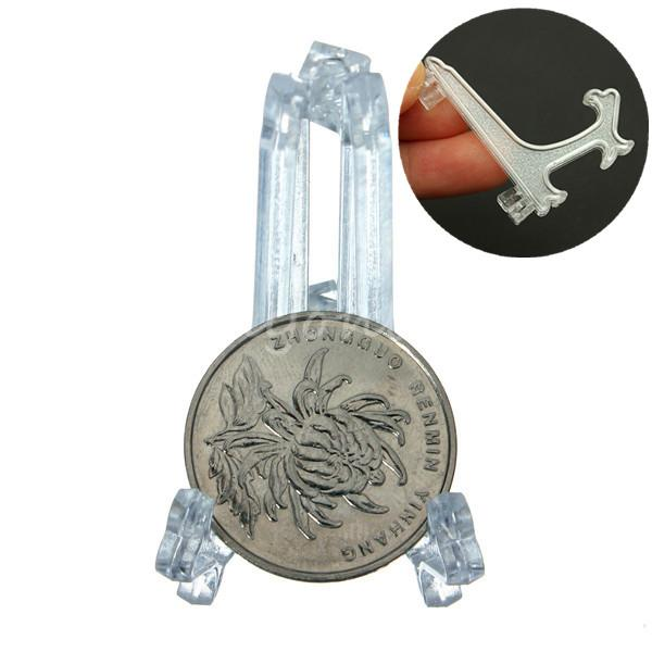 2015 New 5pcs/lot Top quality Mini Clear Plastice Coin Easels Coin Display Stand Display Plate Holders(China (Mainland))