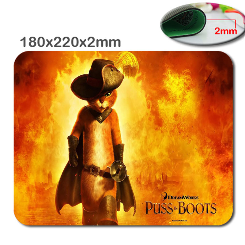 Hot Sale Animation Puss in Boots Design High Quality Durable Fashion Computer and Laptop Mouse Pad(China (Mainland))