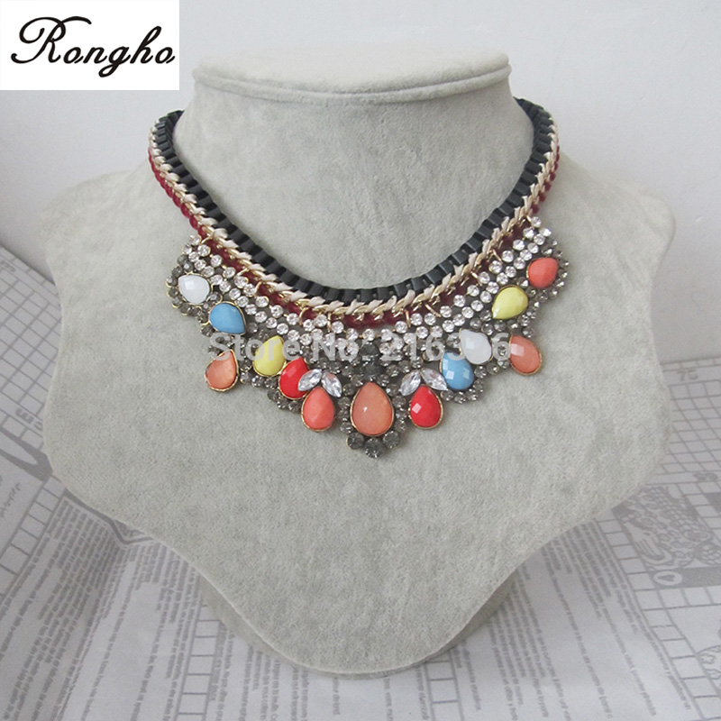2014 latest design women luxurious multi rhinestones&acrylic flowers statement necklace&pendant chains cord weave fine necklace - Rongho jewelry 216326 store