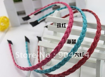 2011new Twisted leather hair bands/super soft leather handmade hairband stylish simplicity/17 color