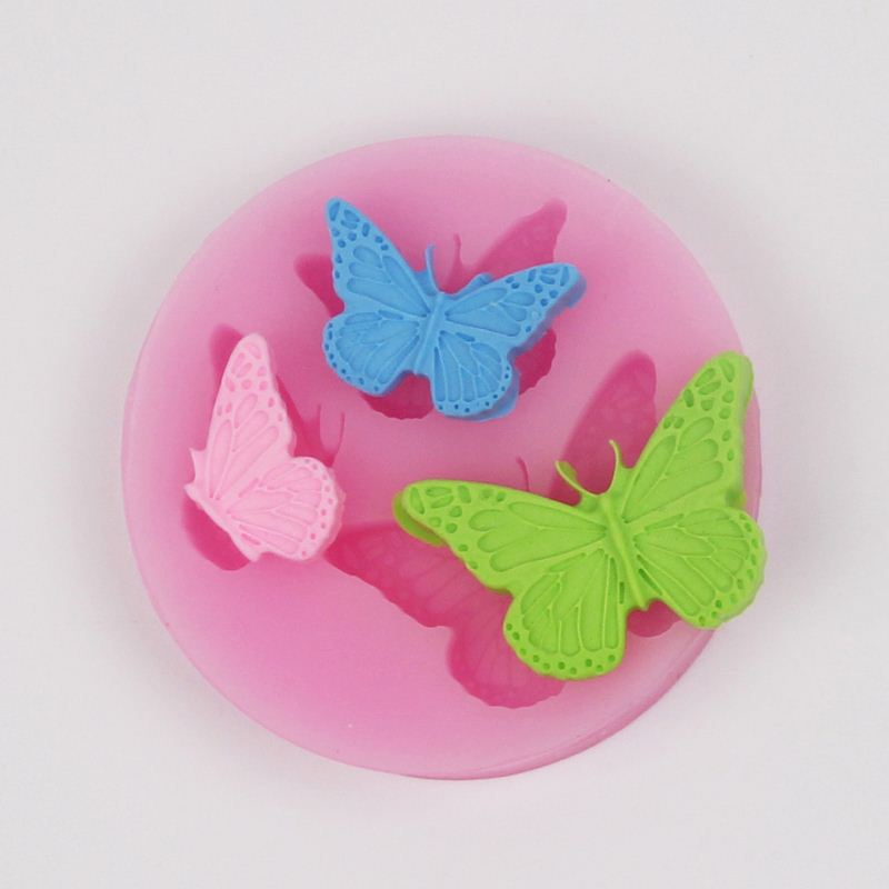 O1001 Silicone Mold Butterfly Shapes Mould 3 Cavities For Soap Candy Chocolate Ice cake(China (Mainland))