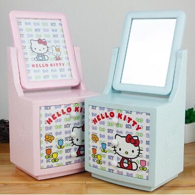 Sweet Hello Kitty Desktop Storage Box Jewelry Makeup Organizer Box with Mirror & Photo Frame 3 Layers Drawer Music Box xx1 KCS(China (Mainland))