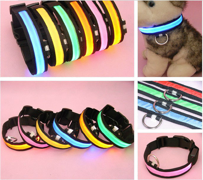 DHL Free shipping Factory Price 200pcs/lot flashing LED dog collar Led pet collar Wholesale(China (Mainland))