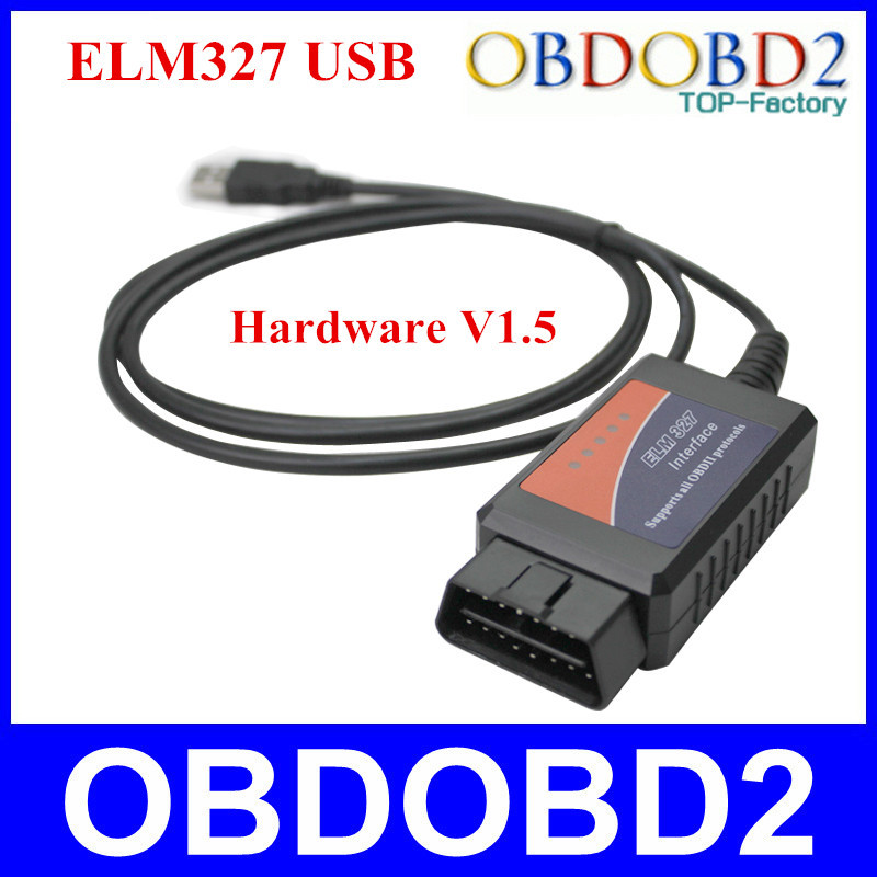 Professional CAN-BUS ELM327 USB Interface V1.5 Plastic ELM 327 OBDII/OBD2 Code Readers & Scan Tool Best After Sale Service(China (Mainland))