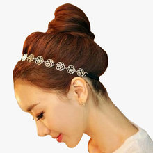 2pcs Womens Fashion Headband Jewelry Metal Chain Jewelry Hollow Rose Flower Elastic Hair Styling Tools Hair Accessories(China (Mainland))