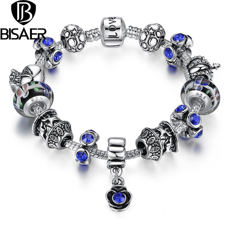 BISAER Antique Silver Charm Bracelet Rose Pendant & Exquisite Glass Love Chain Authentic Jewelry Pulseras(China (Mainland))
