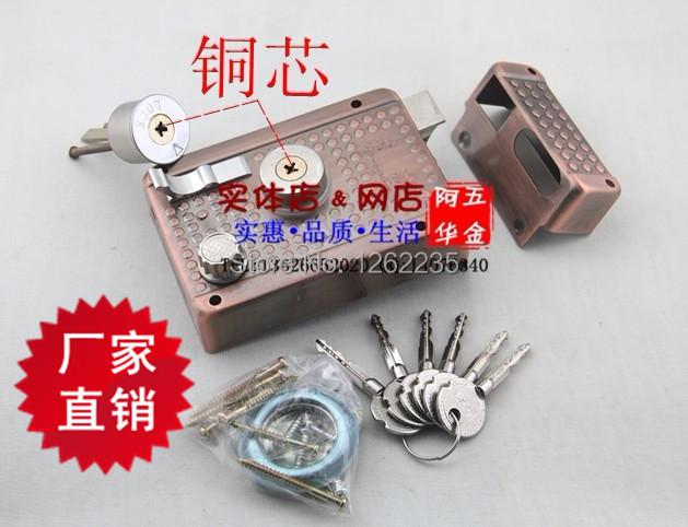 120 85mm Genuine Copper Theft Security Lock Old Fashioned Exterior Door Locks Iron Wood Door