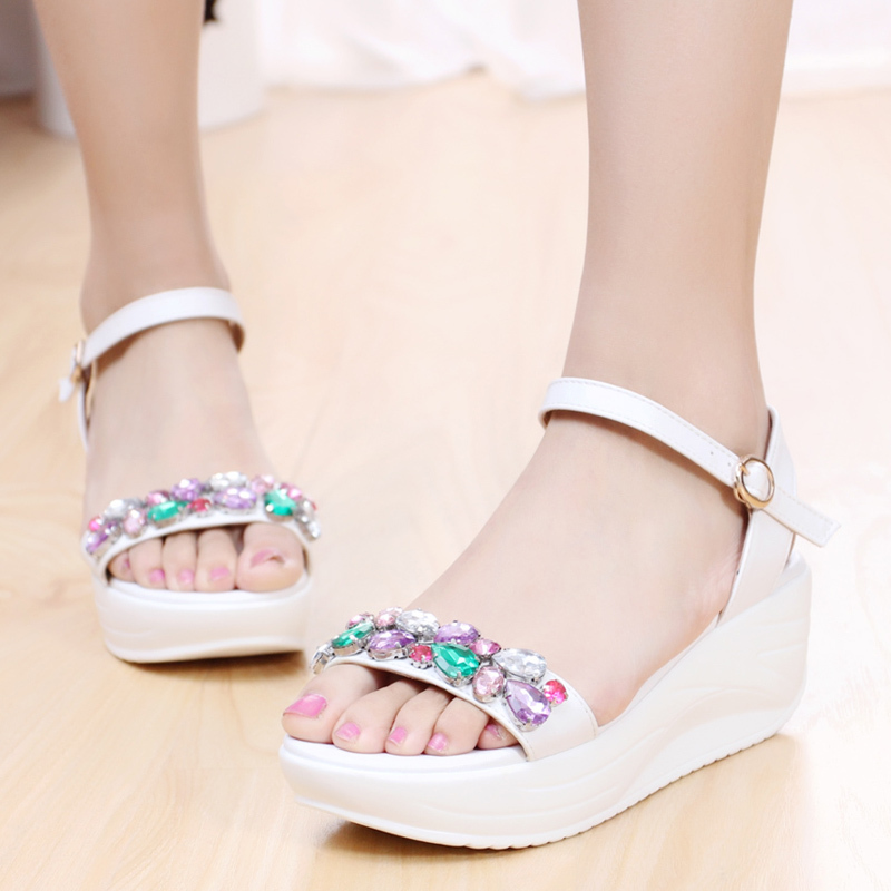 New 2015 summer Colorful wedge sandals Ms platform shoes diamond shake shoes sandals women's shoes(China (Mainland))