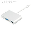 USB 3 1 Type c to VGA USB C female USB3 0 3 in one PD