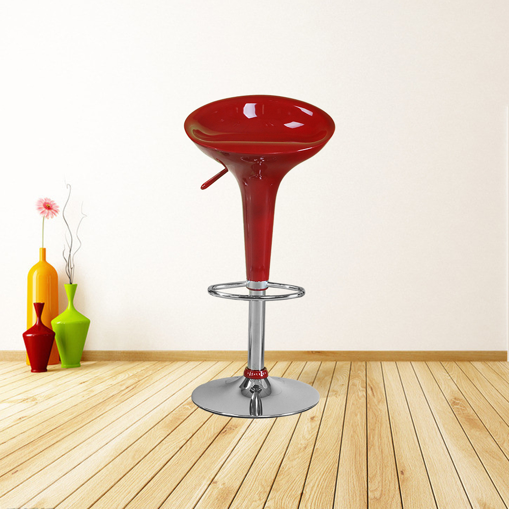 2 Pcs Gloss Red Bar Seat Chair 360 Degree Swivel Bar