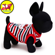 Hot Sale Petcircle Round Collar Striped Dog Vest 2 Color Size XXS XS S M L Pet Dog Clothes Summer Dog Cat Clothing Free Shipping(China (Mainland))