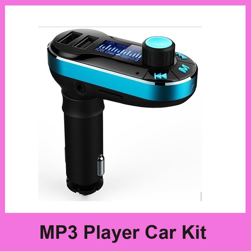 50pcs/lot Smartphone Bluetooth MP3 Player Handsfree Car Kit + Dual USB Charger + FM Transmitter + Micro SD/TF Card Reader(China (Mainland))