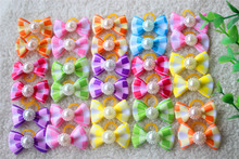 30pcs New Tartan Design Dog Hair Bow Pet Dog Bows With Pearl Cute Rubber Band Hairpin Grooming Accessories