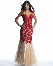 New Design 2016 Sexy V Neck Floor Length Long Lace Appliques Mermaid Elegant Red Flower Prom Evening Dresses(China (Mainland))