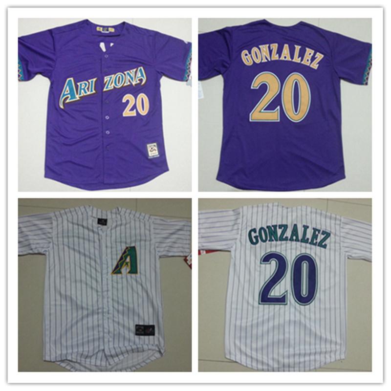 Men's Stitched cheap Arizona Diamondbacks Cooperstown Collection Throwback Jersey White Purple 20 Luis Gonzalez Baseball Jerseys(China (Mainland))