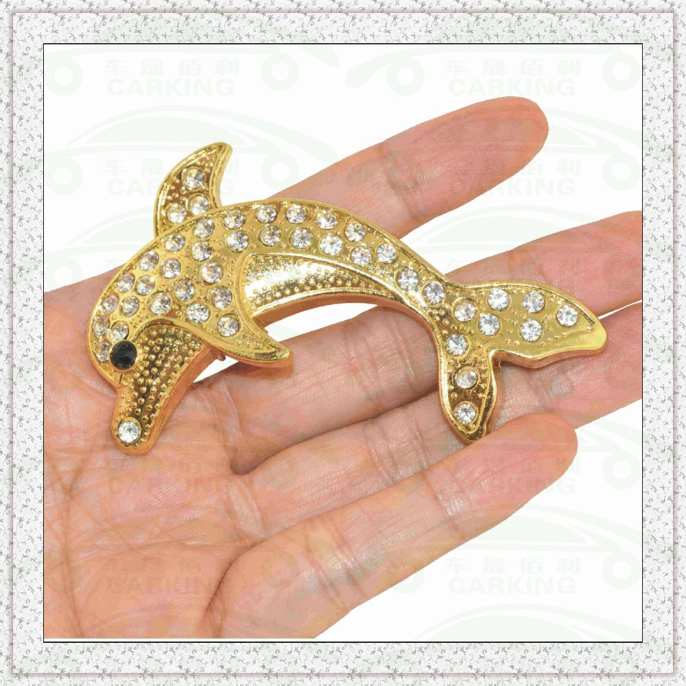DIY 3D Stainless Steel Plating Crystal Dolphin Car Accessories Detector Car Stickers(China (Mainland))