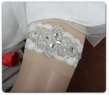 New Design Luxury Crystal Rhinestones Applique Wedding Lace Garter Handmade Free Shipping