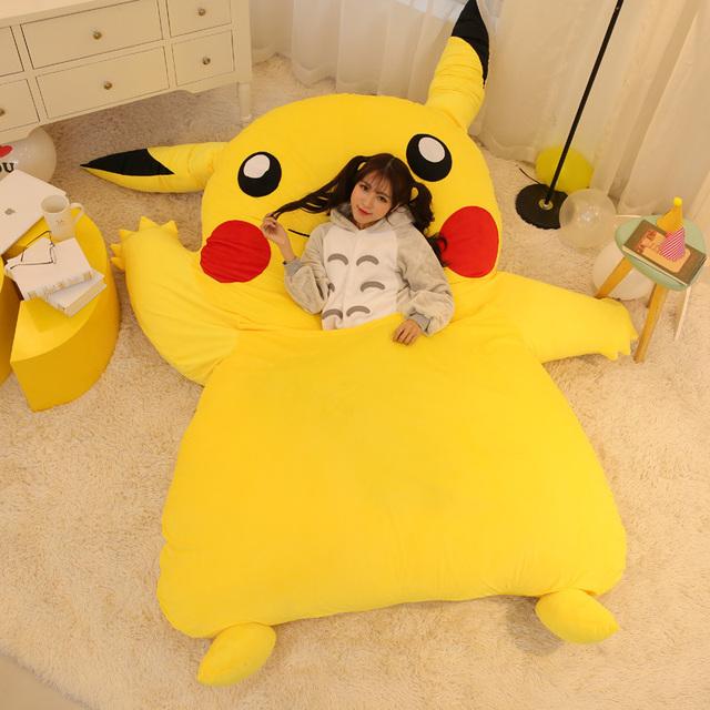 Japan Anime Pikachu Sleeping Bag Pokemon Cartoon Mattress Giant Totoro Double Bed Cushion Plush Memory Foam Tatami Beanbag Pad