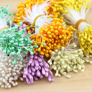 New Arrival Artificial Flower Stamen Double Tip Pearlized Craft Cards Cakes Decoration Drop Shipping(China (Mainland))