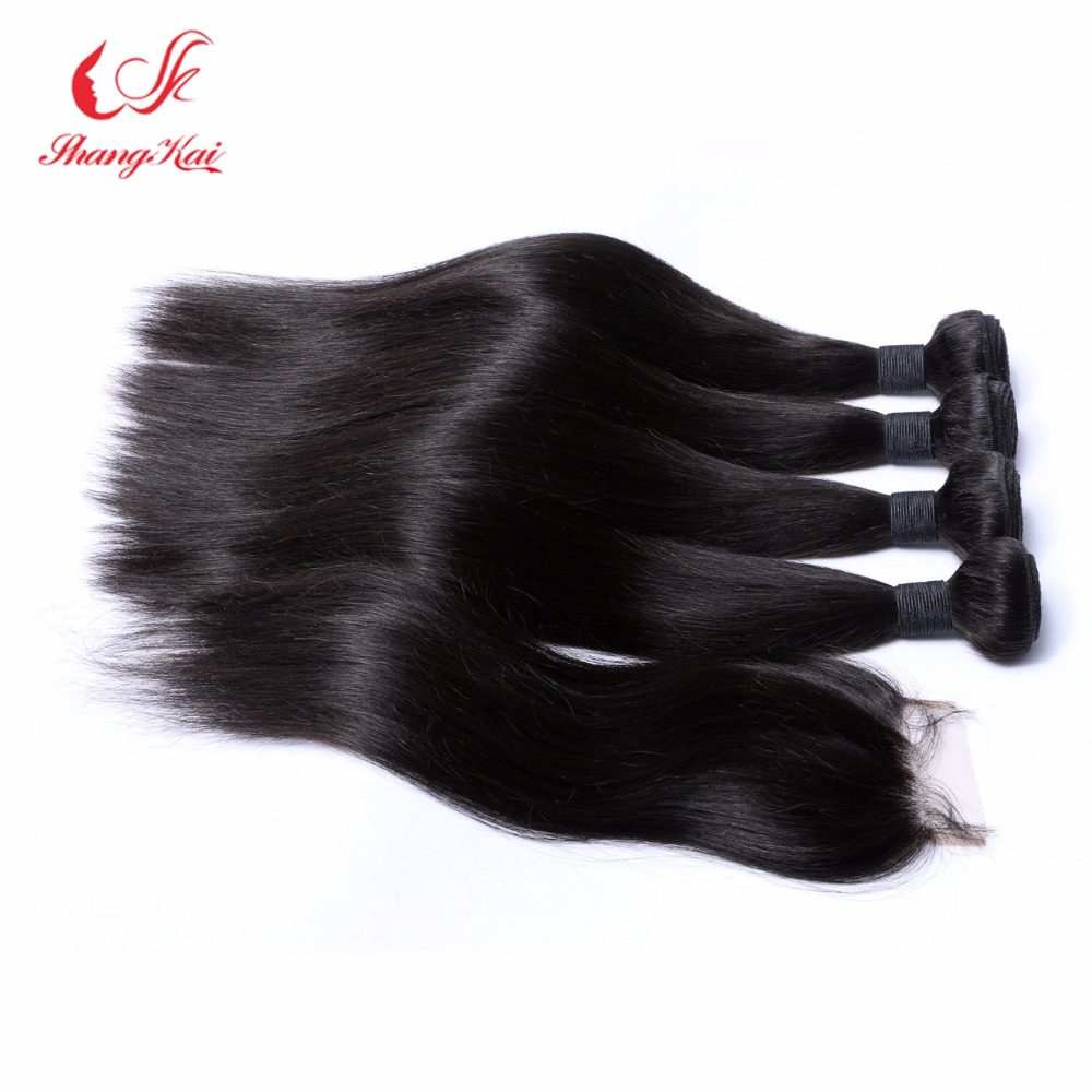 Cambodian Straight Virgin Hair Weave 4 Bundles With 1 Closure Human Hair Extensions Cambodian Virgin Hair With Lace Closure