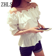 Sexy slash neck ruffles blusas women crop top, Off shoulder beach summer style tops Women white blouses shirts party tube top(China (Mainland))
