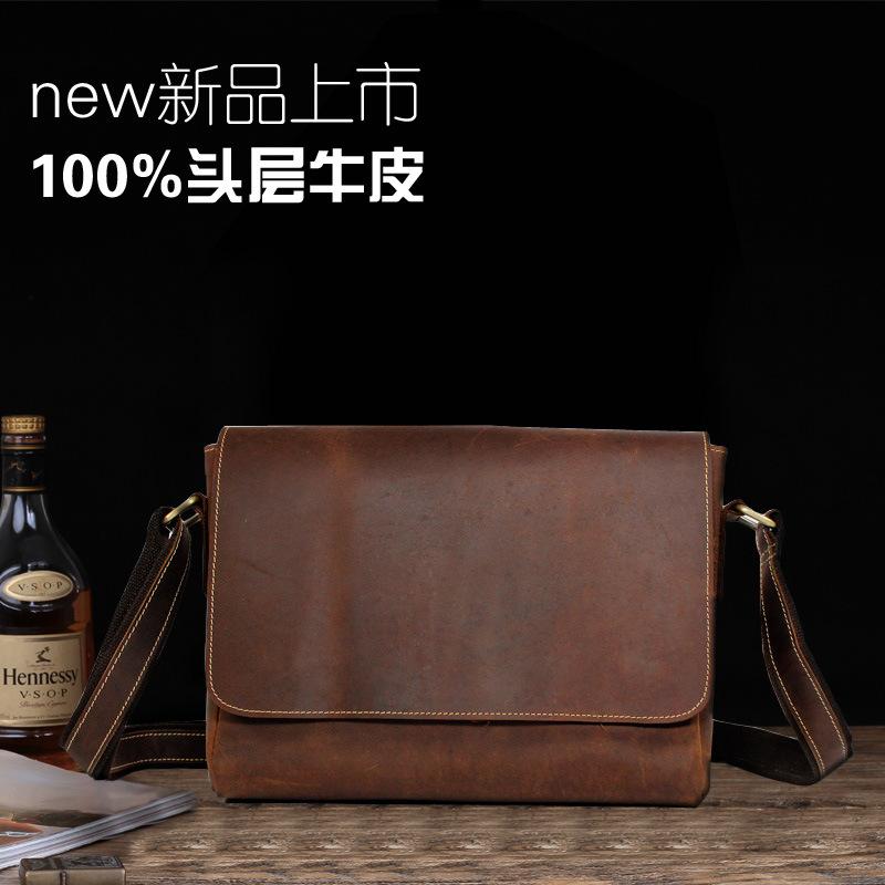Crazy Horse Leather Shoulder Messenger Bag Retro Leather Business Head Layer Cowhide Bag Manufacturer One Generation(China (Mainland))