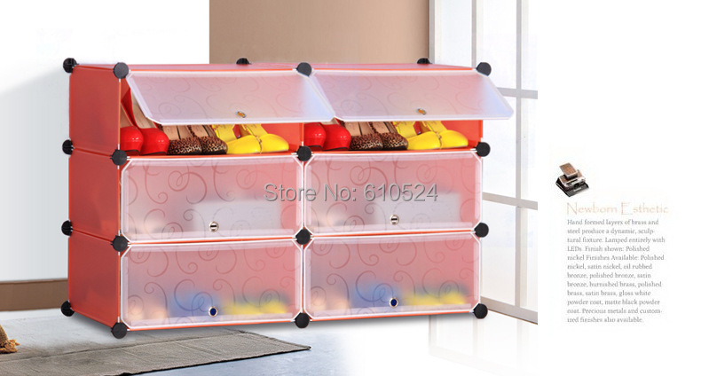 Six Case combination receive shoe ark Dustproof shoe rack fold combination DIY multi-layer creativity