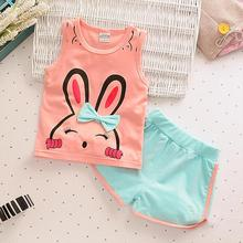 Buy Cotton Sleeveless Girls Suits Shorts Vest +Pants Children Clothing Set 2017 New Summer Casual Rabbit Pattern Kids Clothes for $6.57 in AliExpress store