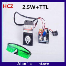 2.5w High Power 450nm Focused Blue Laser Module The Laser Engraving and Cutting TTL Module is a 2500 MW laser tube