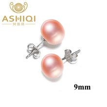 Ashiqi natural de água doce pérola brincos para mulher real 925 prata esterlina jóias presente(China)