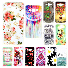 New 2015 Fashion Colorful Flower Vintage Owl Soft Silicone TPU Cell Phone Cover Case For Samsung Galaxy A5 A500 A500F