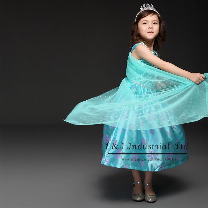 2016 Designer Girl Dress Elsa Anna Custom Tulle Cape Snow Pattern Vest Girl Party Dress For Kids Frock Designs Retail GD50624-1(Hong Kong)