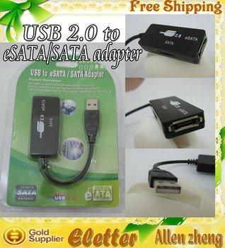 USB 2.0 to Serial ATA HDD Converter USB to SATA & eSATA adapter  free shipping