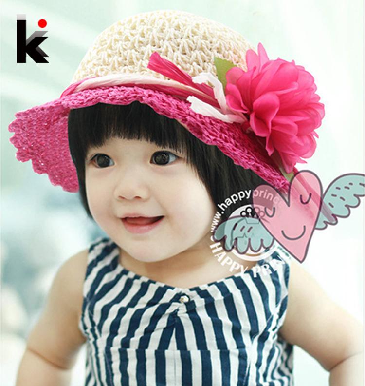 2016 Free Shipping fashion Children hats for girls Beach Hat Flower Cap Kids Straw hat Childrens Summer Sun caps 5 colors(China (Mainland))