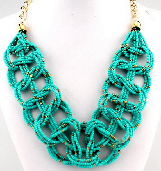 Turquoise color beads waven women chunky statement women for Turquoise colored fashion jewelry