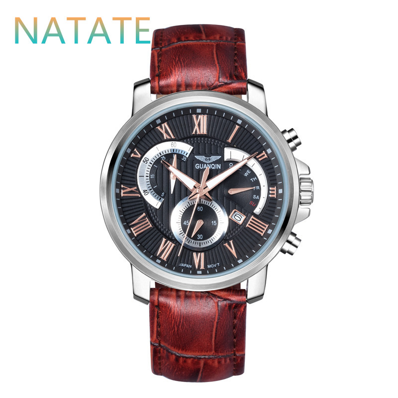 Здесь можно купить  NATATE Men Origianl GUANQIN Waterproof Sport Quartz Watches Men Top Brand Luxury 3ATM Stop Watch Men Genuine Leather Strap 0940  Ювелирные изделия и часы
