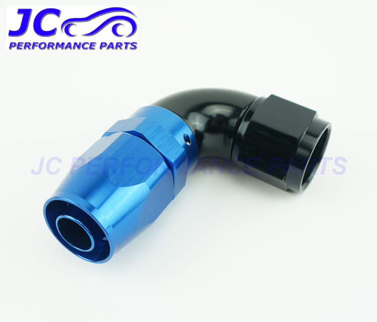 JC Performance Parts - AN6 -6 AN 90degree full flow one piece oil cooler fitting hose end adapter swivel type blue/black