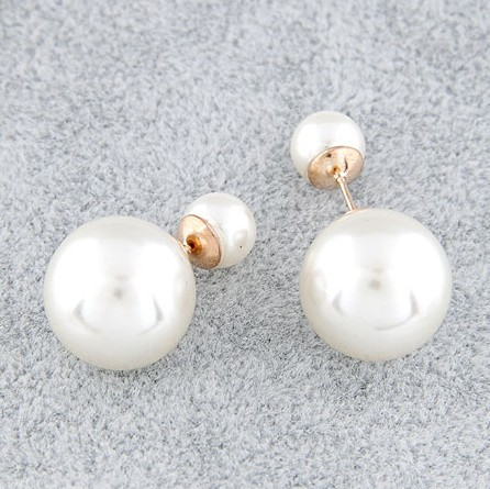 Spx4320 New 2014 Fashion Charms Round Style Double Stud Earring double pearl earrings for Women Jewelry(China (Mainland))