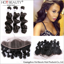 Malibu Dollface Recommend Pre Plucked Lace Frontal With Peruvian Virgin Hair Loose Wave 3pcs Hot Beauty Hair 4pcs/Lot(China (Mainland))