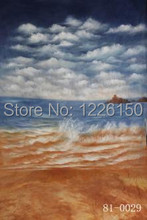 Preofessional 10*20ft/3*6m Hand Painted muslin backdrops 81-0029,sea & beach wedding photo Background , studio props photography