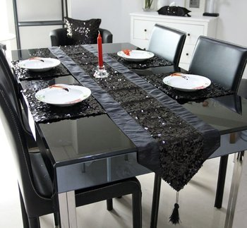 #03 1 runner+4placemat wholeset black  sequin table mat and placemat wholesale luxury