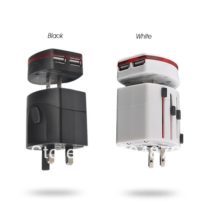 110V~220V World Travel Adapter USB Universal Travel AC Power Adapter Adaptor Plug Adapter dual  usb Charger USB Charger(BS185)(China (Mainland))