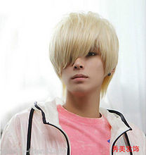 Wholesale& heat resistant LY free shipping>>>New wig Cosplay Korean Fashion Wig Short Men's Blonde Hair Wigs
