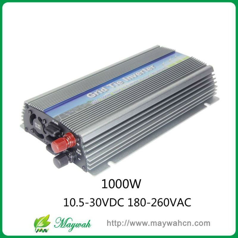10.5-30v 1000W Solar High Frequency Pure Sine Wave Grid Tie Inverter, Output 190-260V.For Vmp18V panels do not need battery(China (Mainland))