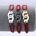 Famous Brand Jewelry 925 Sterling Silver Red Rope Handcuff Bracelet For Women Silver Charm Wedding Bracelet