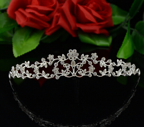 Free ship!! 1pc/lot Wedding hair accessories crystal flower tiara crown elegant bridal rhinestone jewelry for women(China (Mainland))