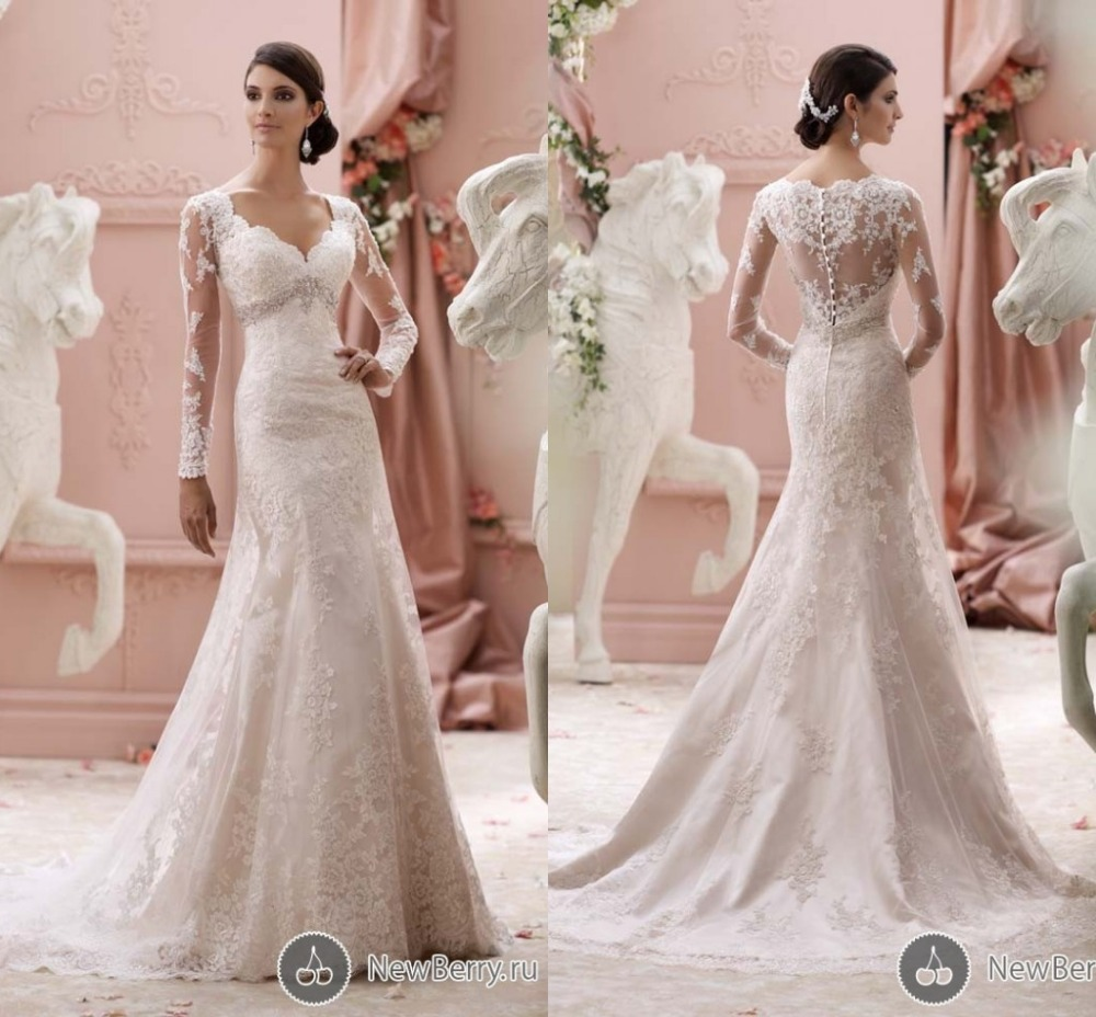 Vintage mermaid wedding gowns with appliques sequined lace for Aliexpress mermaid wedding dresses